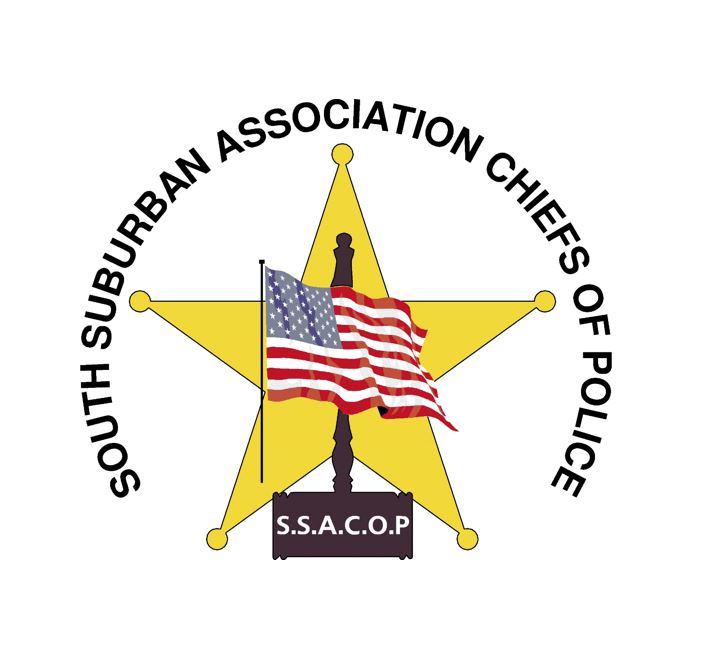 South Suburban Association Chiefs of Police logo of an American flag, over a gavel, over a 5-pointed yellow star.